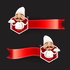 Chinese chef cartoon have smile with red blank banner vector ill