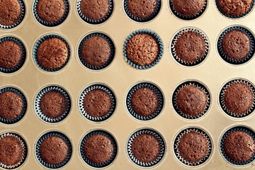 homemade Mini Chocolate cupcakes filling the frame in amuffin pan