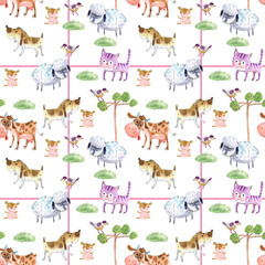 cartoon animals, watercolor, seamless pattern