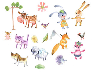 cartoon animals, watercolor