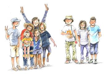 group of people, sketch, watercolor