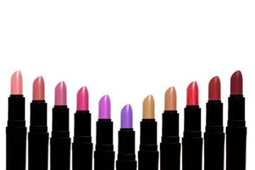 Set of color lipsticks forming V shape. Lipstick set isolated on