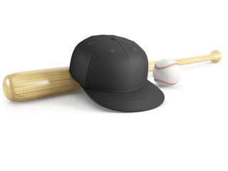 baseball equipment on a isolated on a white background