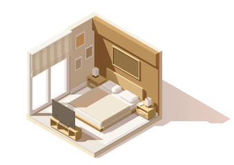 Vector isometric low poly bedroom icon