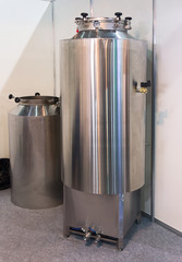 New stainless steel tank of beer production. Industry