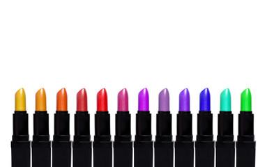 Set of color lipsticks. Lipstick set isolated on white backgroun