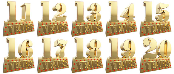 Set of golden digits on a gold ingot for the anniversary. 3d illustration