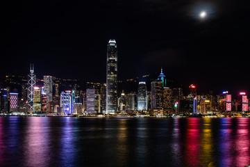 Hong Kong Central Harbor view by night