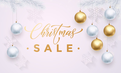 Christmas Sale banner with snowflakes white pattern gold ball ornaments
