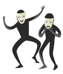 sad and happy theater masks performing an improvisation