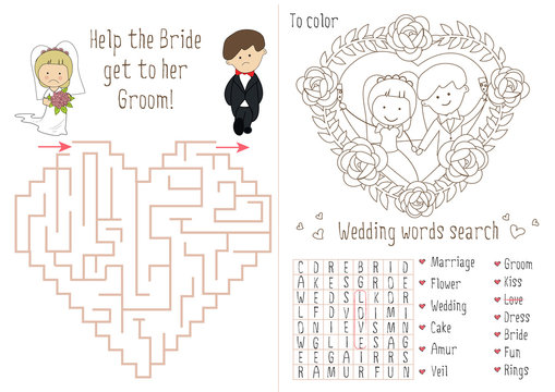 Wedding Activity Book For Kids.  The maze heart. Coloring pages for children. Flower frame. Groom and bride.  Wedding placemat