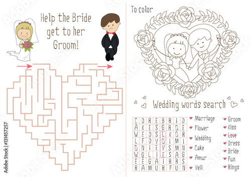 Wedding Activity Book For Kids. The maze heart. Coloring pages for ...