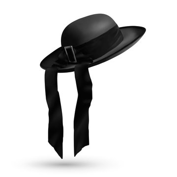 Vector breton traditional men hat with ribbon isolated on white background