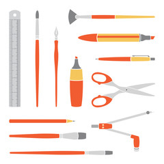 Vector orange tools collection for art and design