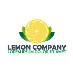 Lemon logo company. Citrus. Vector logo illustration.