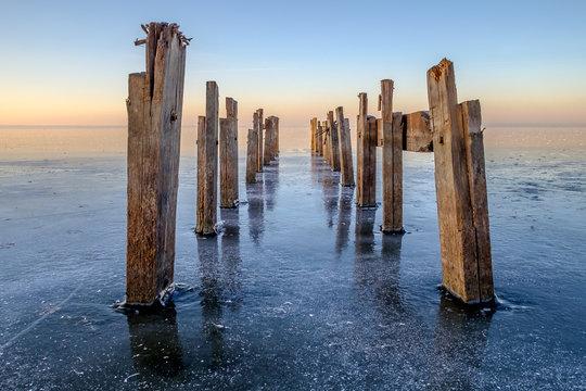 Boat dock on a frozen lake