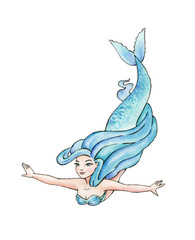 Beautiful Mermaid. Turquoise Girl. Watercolor illustration