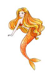 Beautiful Mermaid. Orange Girl. Watercolor illustration
