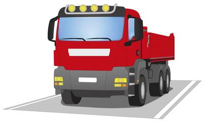 roter Baustellen Lastwagen