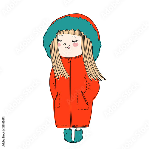 isolated cute cartoon girl wearing warm winter clothes: coat with hood and booties