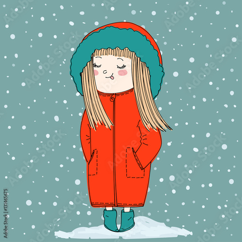 cute girl wearing warm winter clothes: coat with hood and booties. cartoon winter background with snowfall