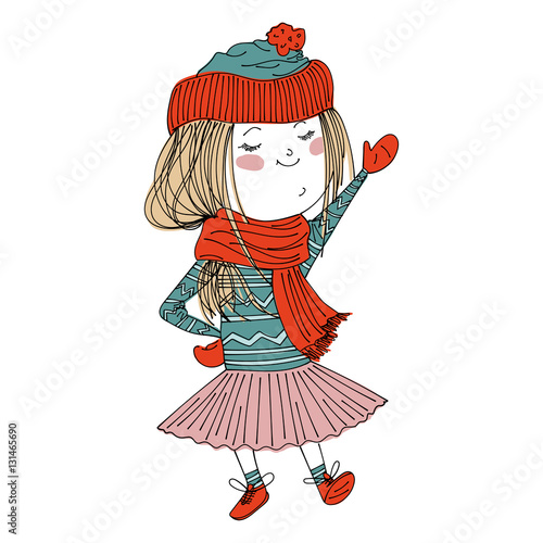 isolated cute cartoon girl wearing warm winter clothes: sweater, hat, tutu, mittens and booties