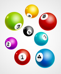 Bingo lottery balls numbers background. Lottery game balls. Lotto winner