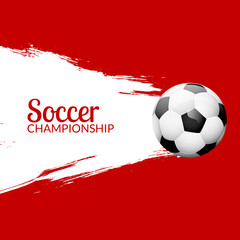 Football or soccer design poster with grunge backdrop. Football banner design template