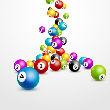 Bingo lottery balls numbers background. Lottery game balls. Lotto winner. Falling balls template