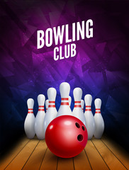 Bowling club poster with ball and bowling pins. Vector background template