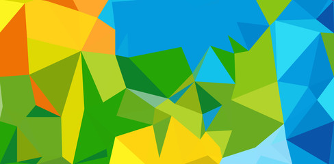Summer background. Polygonal colorful brazilian banner.