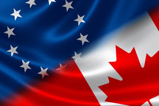 CETA Concept: Flags of EU and Canada on Fabric Texture