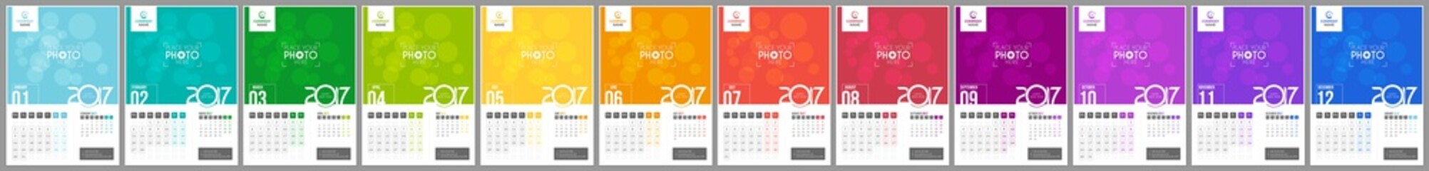 Wall Calendar 2017. Weeks Start Monday. 12 Months. Vector Template with Place for Photo.