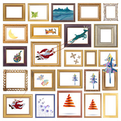 Set of antique frame with christmas concept