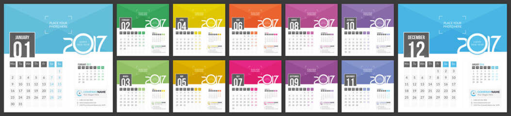 Calendar 2017 - Vector template of 12 Months with Place for Photo, Logo and Info Contact