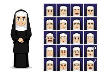 Religion Catholic Nun Cartoon Emotion Faces Vector Illustration