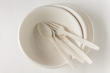 Fork and spoon with Disposable Paper Plate