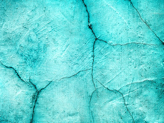 blue cracked wall grunge background