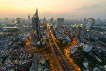 Three-way junctions in bangkok ,Thailand