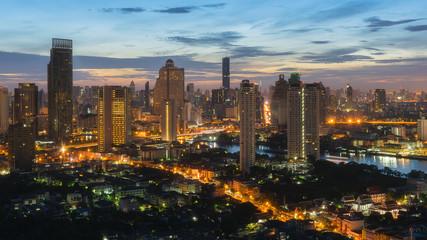 Bangkok city and sunrise ,Thailand