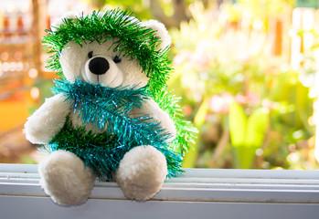 Christmas Teddy Bear,new year Christmas Teddy Bear with copy space for texture