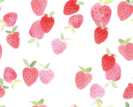 Seamless abstract watercolor hand drawn beautiful strawberry