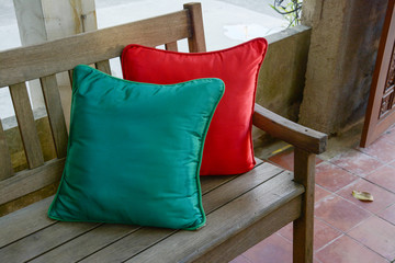 green and red pillow