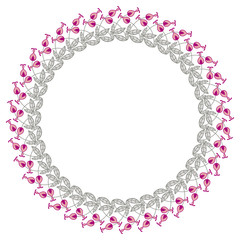 Color round frame with abstract flowers.