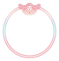 Gradient round frame with angel in vintage style. Custom element for design artworks. Raster clip art.
