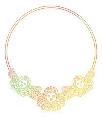 Gradient round frame with angel in vintage style. Custom element for design artworks. Raster clip art.