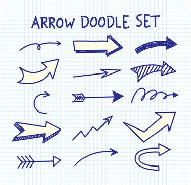 Set of arrow doodle on paper background
