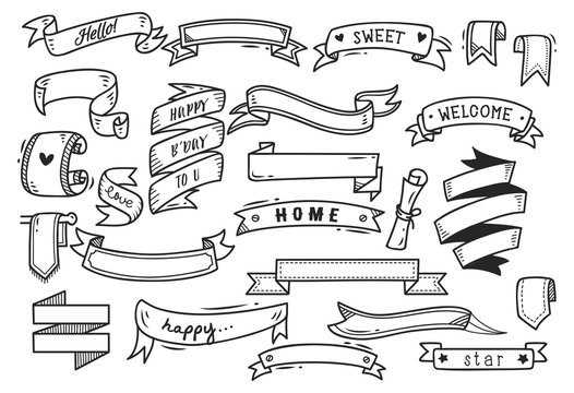 set of banner doodle isolated on white background