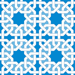 Islamic geometric pattern. Turkish ornament, traditional oriental arabic art. Muslim mosaic. Colorful vector illustration. Blue and white arabian tile. Mosque decoration element. Persian motif