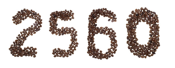 number made with coffee beans on a white background